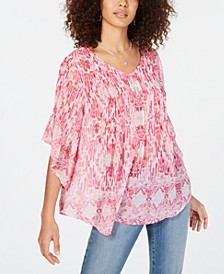 Retro Scarf-Print Pintuck-Pleat Top, Created for Macy's