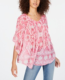 Style & Co Printed Pintuck Top, Created for Macy's
