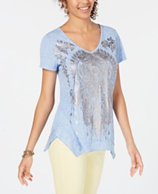 Style & Co Metallic-Print High-Low Top, Created for Macy's