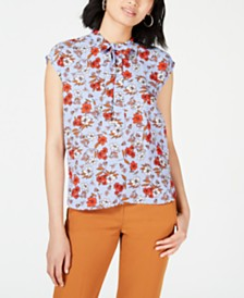 Bar III Floral Tie-Neck Blouse, Created for Macy's