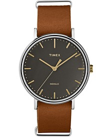 Timex Fairfield 41mm Slip-Thru Leather Strap Watch
