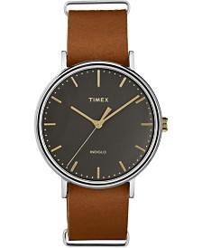 Timex Fairfield 41mm Slip-Thru Leather Strap Watch