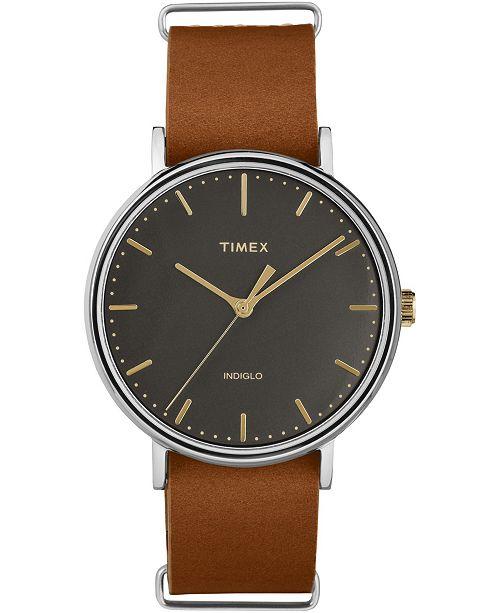 Timex Boutique Timex Fairfield 41mm Slip-Thru Leather Strap Watch
