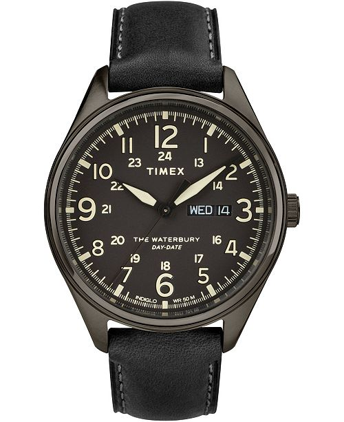 Timex Boutique Timex Waterbury Traditional Day Date 42mm Leather Strap Watch