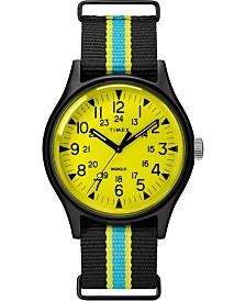 Timex MK1 Aluminum California 40mm Black with Blue Stripe Fabric Strap Watch