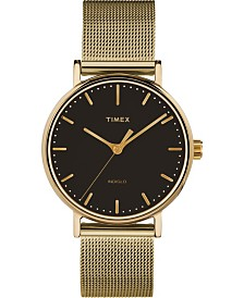 Timex Fairfield 37mm Black Dial Stainless Steel Gold Mesh Band Watch