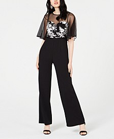 Petite Embroidered Illusion-Mesh Jumpsuit