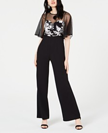 Adrianna Papell Petite Embroidered Illusion-Mesh Jumpsuit