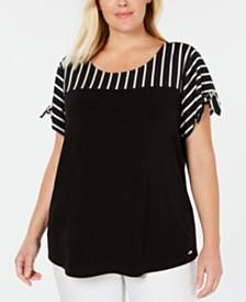 Calvin Klein Plus Size Striped & Solid Tie-Sleeve Top