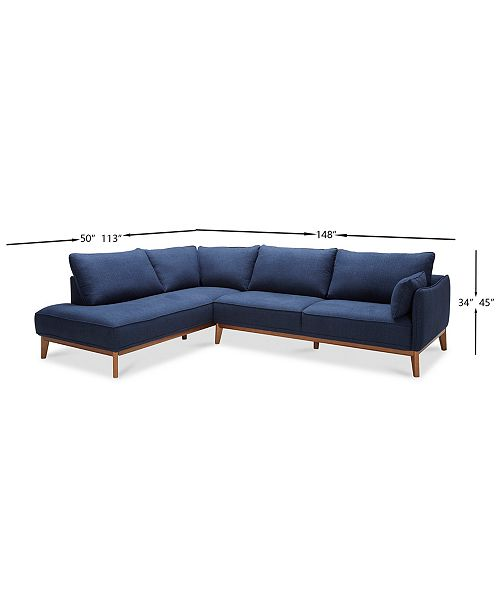 """Furniture Jollene 113"""" 2-Pc. Sectional, Created For Macy's"""