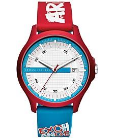 A|X Armani Exchange Men's Hampton Red & Blue Silicone Strap Watch 46mm