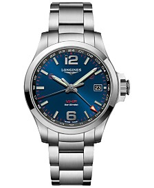 Longines Men's Swiss Conquest V.H.P. Stainless Steel Bracelet Watch 41mm