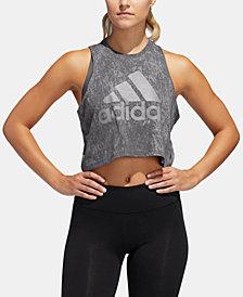 adidas Cotton ClimaLite® Logo Cropped Tank Top