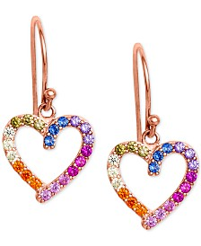 Giani Bernini Cubic Zirconia Rainbow Heart Drop Earrings in 18k Rose Gold-Plated Sterling Silver, Created for Macy's