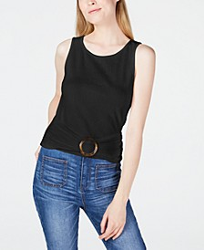 Juniors' Knit Buckle-Front Tank Top