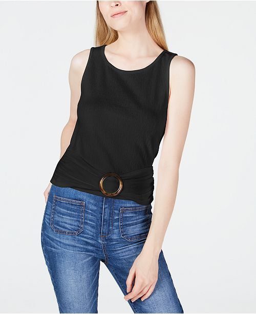BCX Juniors' Knit Buckle-Front Tank Top