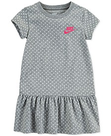 Nike Little Girls Standard-Fit Dot-Print Peplum Dress