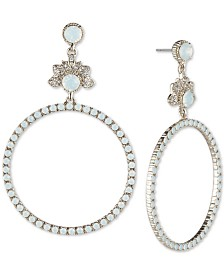 Marchesa Gold-Tone Crystal & Stone Circle Drop Earrings