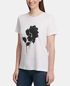 DKNY Caviar-Beaded Flower Logo T-Shirt