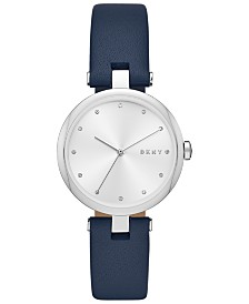 DKNY Women's Eastside Navy Leather Strap Watch 34mm