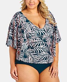 Raisins Curve Trendy Plus Size Juniors' Palmeira Stingray Printed Tankini Top & Costa High-Waist Ruched Bikini Bottoms