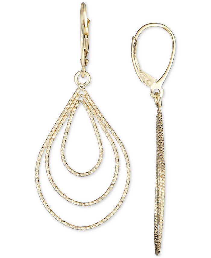 Italian Gold - Teardrop Earrings in 14k Gold