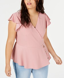 Monteau Trendy Plus Size Flutter-Sleeve Peplum Top