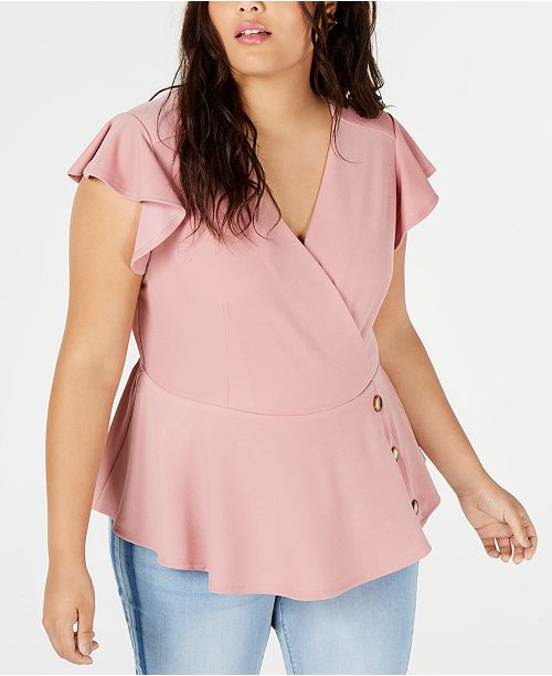 Monteau Trendy Plus Size Flutter-Sleeve Peplum Top