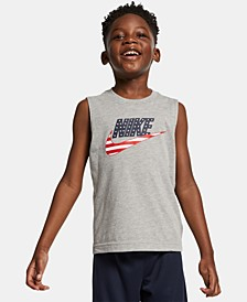 Little Boys 2-Pc. Stars & Stripes Logo Muscle T-Shirt & Mesh Shorts Set