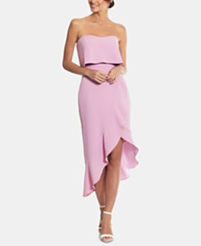 XSCAPE Crepe Bustier Ruffle Dress