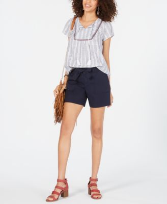 Tie-Belt Cotton Shorts, Created for Macy's