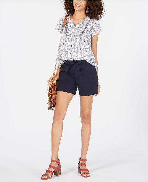 Style & Co Tie-Belt Cotton Shorts, Created for Macy's