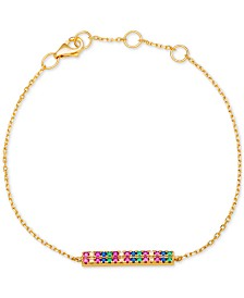 Giani Bernini Cubic Zirconia Rainbow Pavé Bar Bracelet in 18k Gold-Plated Sterling Silver, Created for Macy's