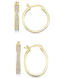 Glitter Hoop Earrings Set in 18k Gold Over Sterling Silver or Sterling Silver