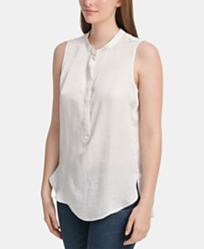 DKNY Sleeveless Button-Up Top