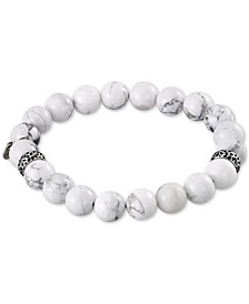White Agate (10mm) Beaded Stretch Bracelet in Stainless Steel