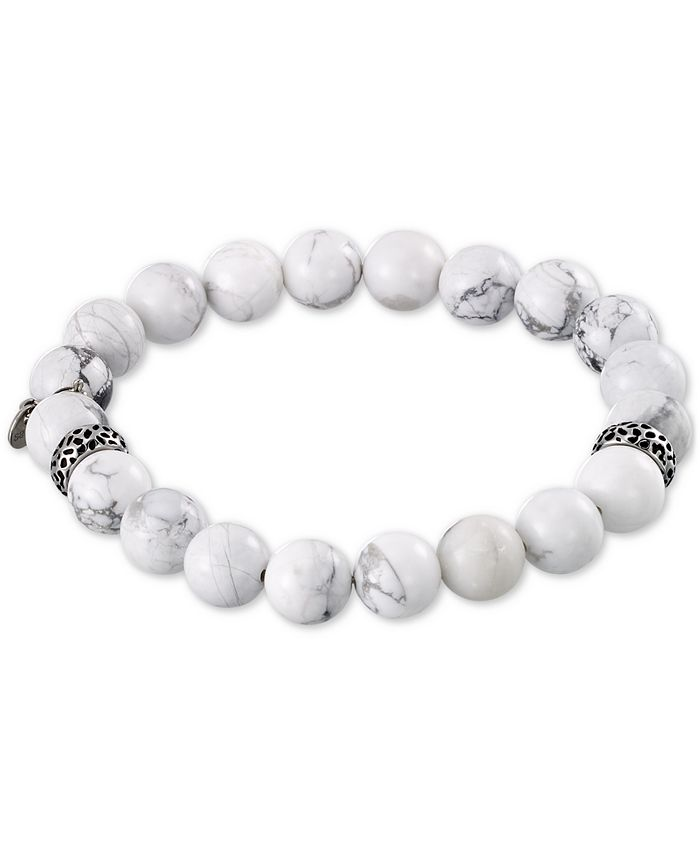 LEGACY for MEN by Simone I. Smith - White Agate (10mm) Beaded Stretch Bracelet in Stainless Steel