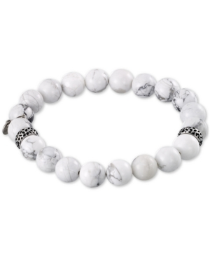 Smith White Agate (10mm) Beaded Stretch Bracelet in Stainless Steel