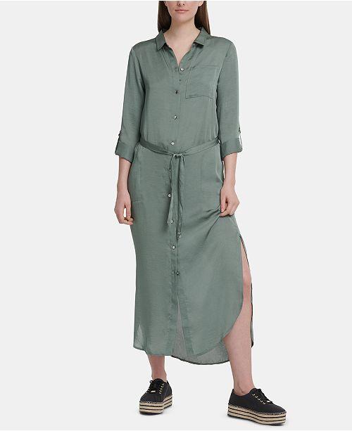 DKNY Belted Maxi Shirtdress