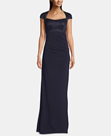 B&A by Betsy & Adam Embellished-Top Cap-Sleeve Gown