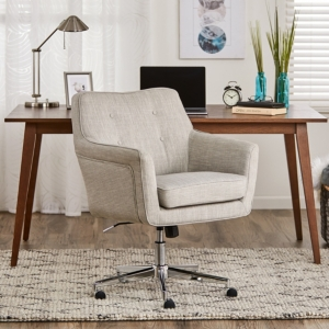 The Serta Style Ashland Home Office Chair proves that functionality doesn\\\'t have to mean a sacrifice in style. This chic design features memory foam cushions in the seat and arms for signature Serta comfort. The chrome-finished stand offers you 360-degree swivel and height control to personally tailor to your space. Choose from all-surface casters for easy mobility, or the included gliding footers to create a stylish stationary desk chair. The Serta Style Ashland Home Office Chair will upgrade t