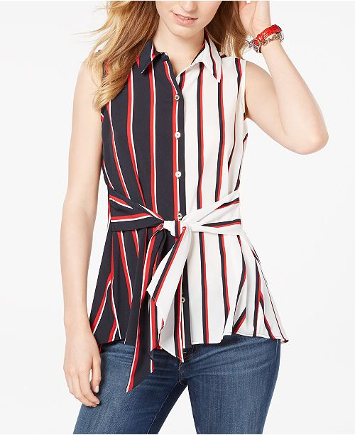 Tommy Hilfiger Striped Front-Tie Sleeveless Top, Created for Macy's