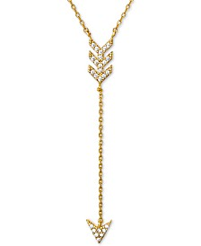 "Giani Bernini Cubic Zirconia Arrow Lariat Necklace in 18k Gold-Plated Sterling Silver, 16"" + 2"" extender, Created for Macy's"