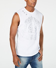 Sean John Men's White Party Metallic Logo Graphic Muscle Tank