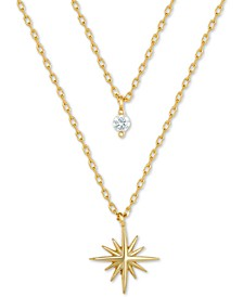 "Cubic Zirconia & Star Layered Necklace in 18k Gold-Plated Sterling Silver, 16"" + 2"" extender, Created for Macy's"