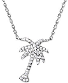 "Giani Bernini Cubic Zirconia Palm Tree Pendant Necklace in  Sterling Silver, 16"" + 2"" extender, Created for Macy's"