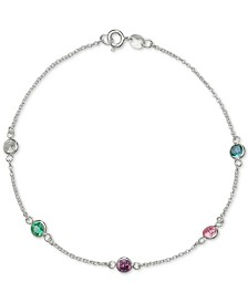 Giani Bernini Cubic Zirconia Rainbow Bezel Ankle Bracelet in Sterling Silver, Created for Macys