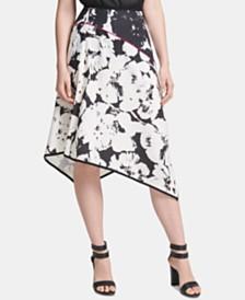 DKNY Printed Asymmetric A-Line Skirt