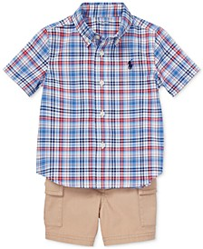 Baby Boys Plaid Shirt & Cargo Shorts Set