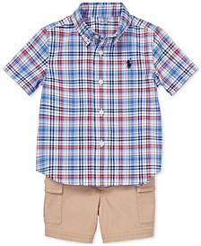 Baby Boys Plaid Shirt & Cargo Shorts Set